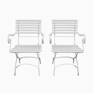 German Wrought Iron Garden Chairs, 1880s, Set of 2