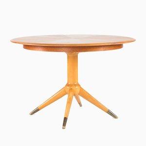 Round Teak Veneer Dining Table by David Rosén for Nordiska Kompaniet, 1950s