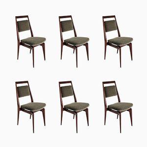 Mid-Century Italian Velvet Dining Chairs, Set of 6