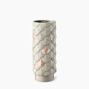 Verblasste Hand-Dekorierte Plumage Vase in Grau & Rosa von Cristina Celestino für BottegaNove
