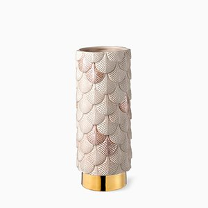 Hand-Dekorierte Plumage Vase in Mattem & Glänzendem Rosa von Cristina Celestino für BottegaNove