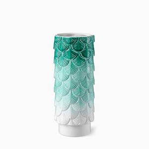 Plumage Hand-Decorated White and Green Faded Vase by Cristina Celestino for BottegaNove