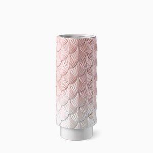 Vase Plumage Décoré à la Main Blanc et Rose Passé par Cristina Celestino pour BottegaNove