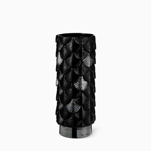 Plumage Hand-Decorated Black Gloss and Luster Vase by Cristina Celestino for BottegaNove