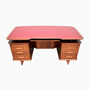 Italienischer Schreibtisch aus Walnuss & Formica in Rot, 1950er