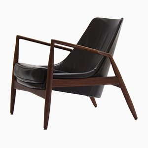 Swedish Black Seal Lounge Chair by Ib Kofod-Larsen for OPE, 1956