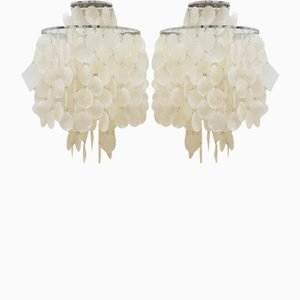 Fun 2 WM Mother of Pearl wall lamps by Verner Panton for Lüber, Set of 2