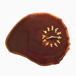 Horloge Murale Bordeaux Semi Opaque en Morceau de Tronc d'Arbre Laqué, 1970s