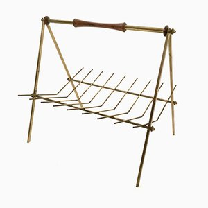 Italian Brass & Solid Wood Magazine Rack, 1950s