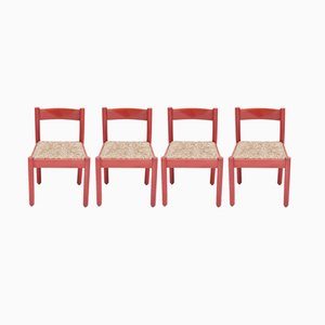 Vintage Red Carimate Chairs by Vico Magistretti, Set of 4