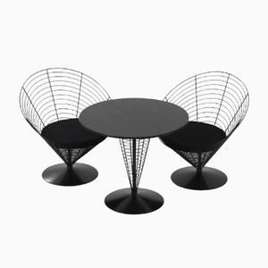 Wire Cone Table with Two Wire Cone Chairs by Verner Panton for Fritz Hansen, 1988