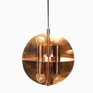 Copper Gold Pendant Lamp with 8 Lights, 1970s