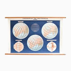 Tableau Scolaire Carte du Monde, 1960s