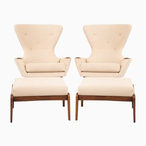 Vintage 2231-C Wingback Chairs With Ottomans by Adrian Pearsall for Craft Associates, Set of 2