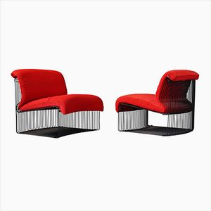 Pantonova Chairs in Red with Black frames by Verner Panton for Fritz Hansen, Set of 2