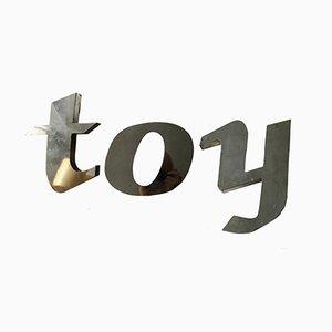 Aluminium Buchstaben T, O und Y, 1950er