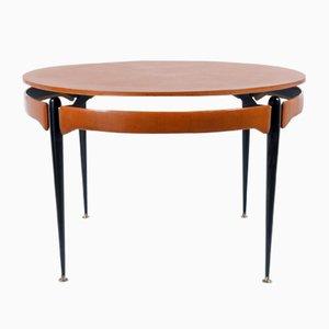 Round Walnut & Black Metal Table, 1960s