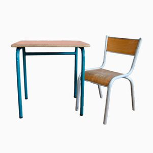 Vintage Orange Formica School Desk & Chair, 1960s