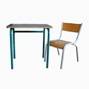 Dark Blue School Desk & Chair, 1960s