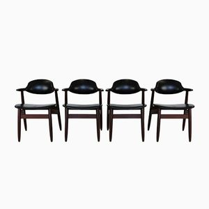 Dutch Cowhorn Dining Chairs by Tijsseling for Hulmefa Nw-Pekela Holland, 1960s, Set of 4