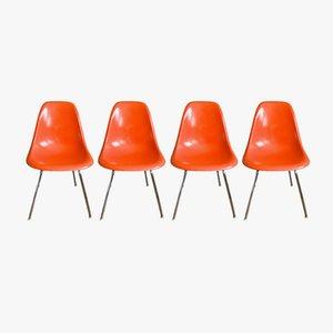 Orange Vintage DSX Stühle von Charles & Ray Eames für Herman Miller, 1960er, 4er Set