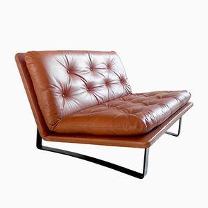 Vintage Zweisitzer Sofa in Cognacfarbenen Leder von Kho Liang Ie für Artifort