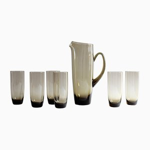 Brocca con 6 bicchieri Mid-Century
