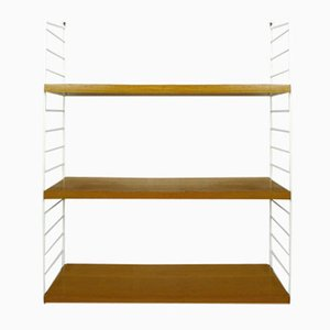 Wall Shelving System in Teak with White Uprights by Nisse Strinning for String, 1960s