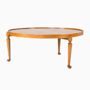Mid-Century Swedish Round Walnut Coffee Table by Josef Frank for Svenskt Tenn