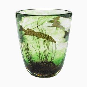 Vintage Fishgraal Vase von Edward Hald für Orrefors, 1937