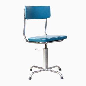 Petite Chaise de Bureau en Skai Bleu avec Structure Blanche, 1960s