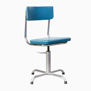 Small Office Chair in Blue Skai with White Trim, 1960s