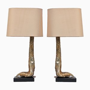 Silver Mounted Ostrich Leg Lamps on Marble Base