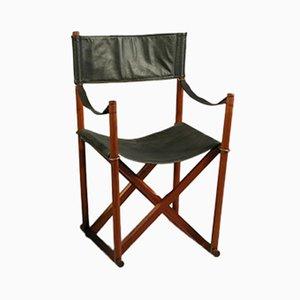 Chaise Safari Pliantes en Teck, Laiton & Cuir Noir par Mogens Koch pour Rud. Rasmussen, 1960s