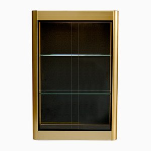 Gold Wall Display Cabinet with Sliding Glass Doors, 1970s