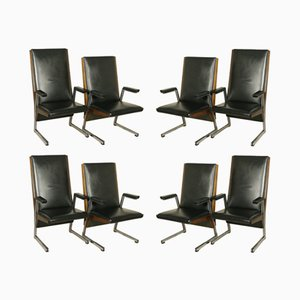 Vintage Stained Beech Chairs with Armrests, Set of 8