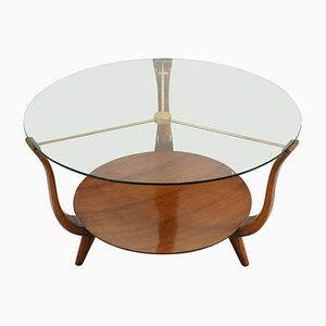Italian Round Coffee Table in Walnut, Brass, and Glass, 1950s