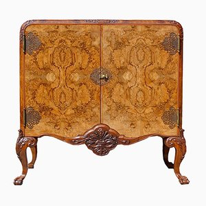 English Burr Walnut Cabinet, 1900s