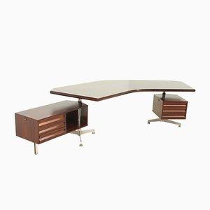 Palisander Boomerang Schreibtisch von Osvaldo Borsani für Tecno, 1960er