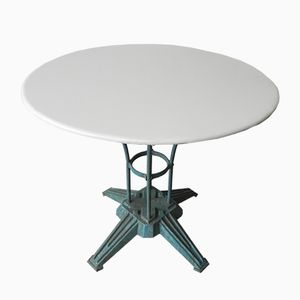 Art Deco French Steel Garden Table with Cast Iron Foot