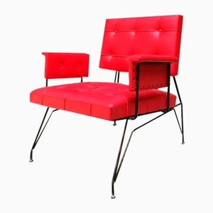 Red Leatherette Armchair, 1960s