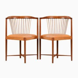 Mahogany King of Diamonds Chairs by Børge Mogensen for Søborg Møbelfabrik, 1940s, Set of 2