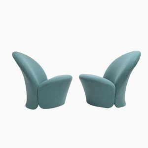 Vintage F572 Chairs in Aqua Marine Ploeg Wool by Pierre Paulin for Artifort, Set of 2