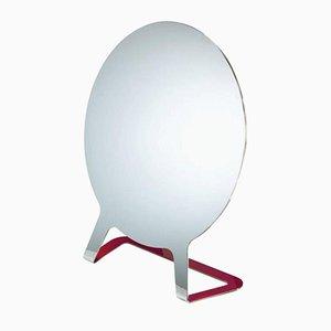 Polierter Spiegel aus Edelstahl mit Himbeerrot Lackierter Rückseite von Philippe Cramer, 2015