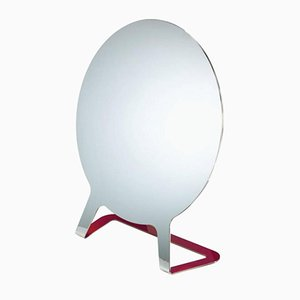 Specchio in acciaio e laccato in color lampone di Philippe Cramer, 2015