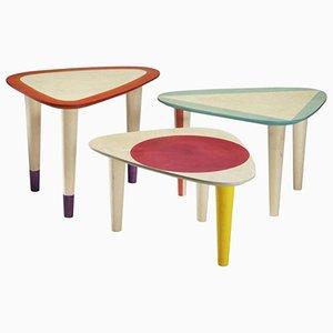 Tavolini da caffè in legni dipinti di Philippe Cramer, 2013, set di 3