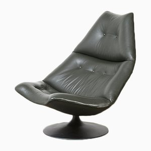 Mid-Century F590 Leather Lounge Swivel Chair by Geoffrey Harcourt for Artifort