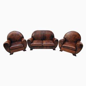 Vintage Leather Club Living Room Set, Set of 3