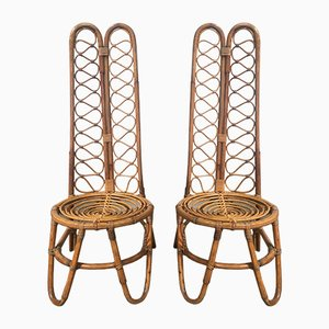 French Riviera Bamboo Chairs, 1950s, Set of 2