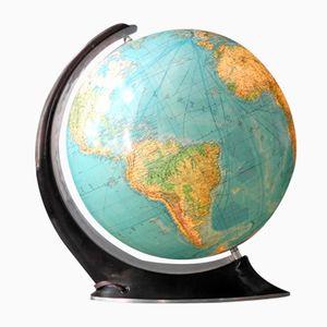 Großer Beleuchteter Mid-Century Globus aus Glas